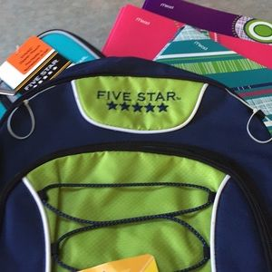 Other - Five star backpack, folders and pencil case